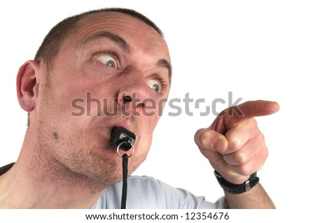 This coach is outrageous, his pupil is not doing very well. - stock photo