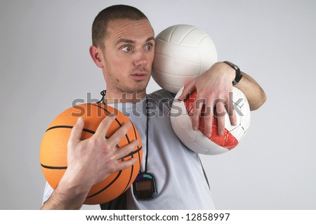 This coach is too busy, he can't handle it. - stock photo