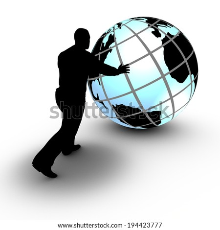 This concept illustration shows a businessman that manages a world wide project by rolling the globe. The project advances and is under control. - stock photo