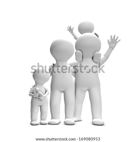 This 3D picture illustrates a close knit family with two adults and two children. They are happy and really well and look forward to spending time together. - stock photo