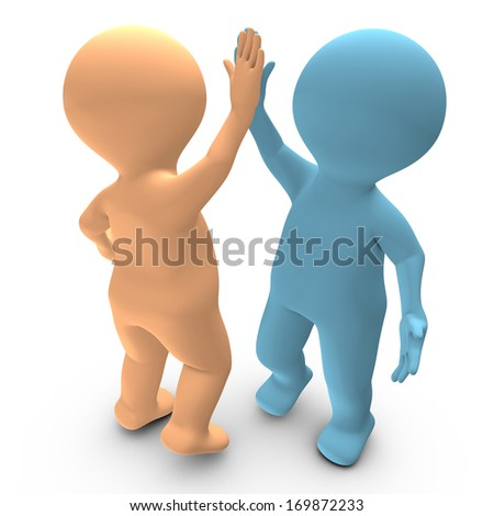 This 3D picture illustrates a high five between two persons that celebrate a success - stock photo