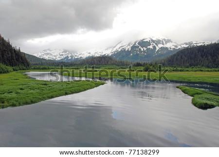 This estuary was taken on a misty day near Cordova, Alaska - stock photo