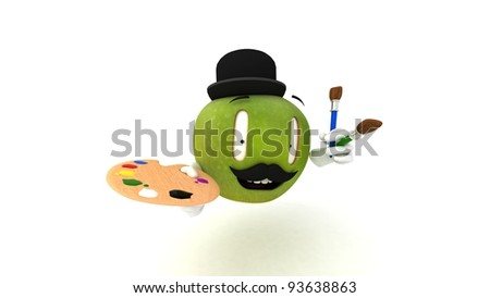 This green artistic apple with paintbrushes is very happy to see you! - stock photo