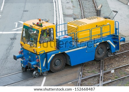 This hybrid machine is in use in port services and rail - stock photo