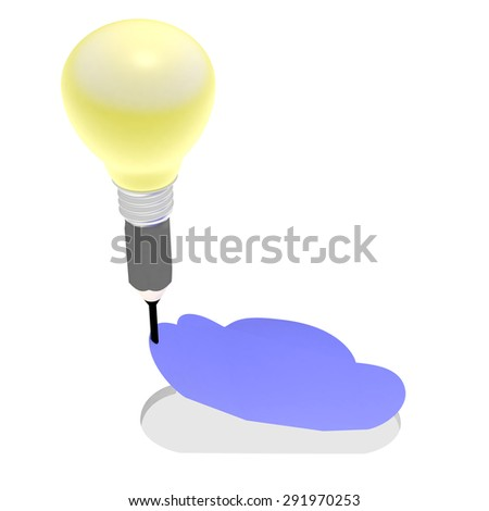 This illustration represents the conception of an internet cloud services. The cloud is cut from the paper. The bulb is like a hot air balloon pulling the cloud to the sky. - stock photo