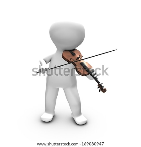 This illustration shows a man having a real pleasure in playing violin. He is probably training or playing in front of a large public. - stock photo