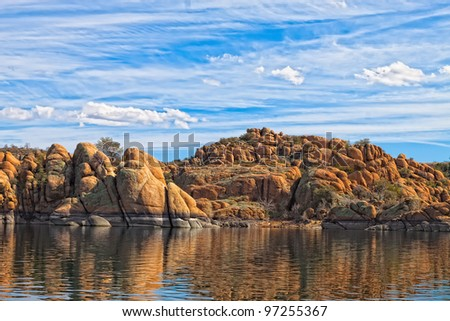 This image captures scenes from Watson Lake in the Granite Dells of Prescott, AZ - stock photo