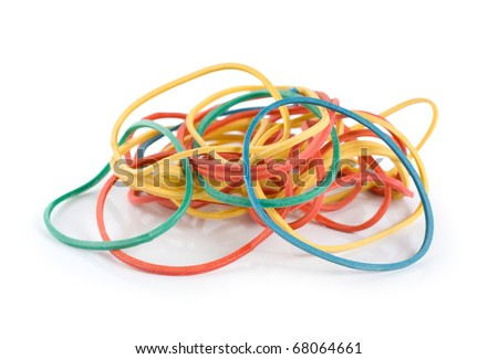 This image is of a pile of colorful rubber bands. - stock photo