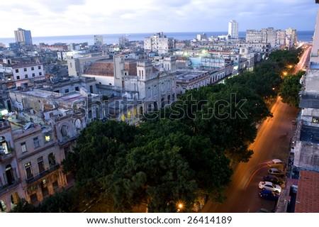 This image shows the night lights of Consulado Street, Havana, Cuba - stock photo