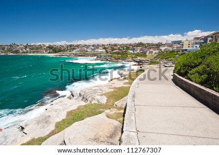 This image shows the scenery on the Bondi Beach to Bronte Walk, Sydney, Australia - stock photo