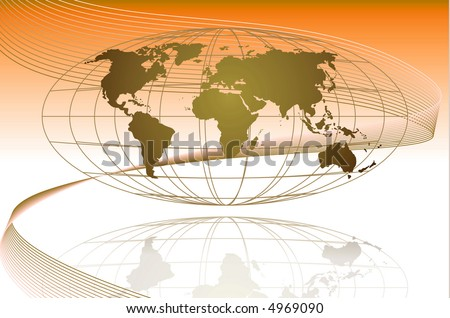 This is a global map with the coordinate lining and a wave getting across the global. Best used for business flow purposes. - stock photo
