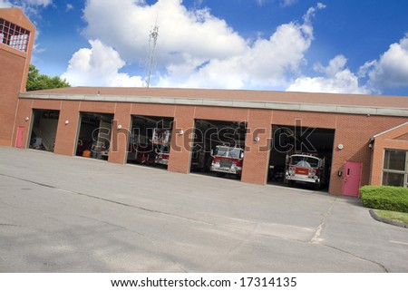 This is a huge fire house with lots of bays. - stock photo