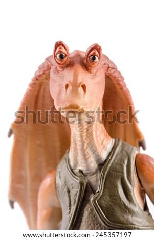 This is a Jar Jar Binks action figure. This Star Wars movie character made by Hasbro. /  Jar Jar Binks portrait / Komarom, Hungary - 28th December 2014  - stock photo