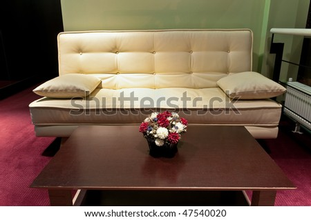 This is a photograph of a lobby in a five star art hotel - stock photo