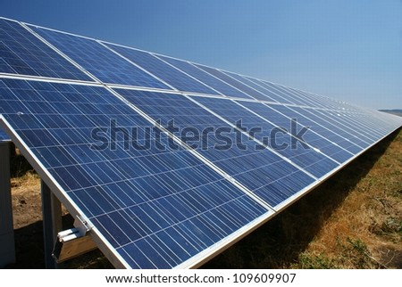 This is a photovoltaic farm in Sliven, Bulgaria. - stock photo