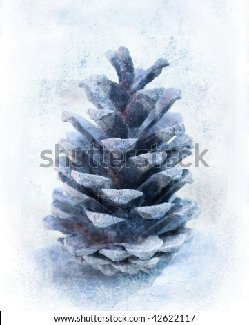 This is a picture of an fir cone. The photo was overpainted to make it look a little bit more frosty. - stock photo