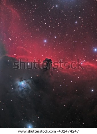 This is a picture of nebula complex B33, also known as the Horsehead Nebula. It is a nebula complex of emission, reflection, and dark nebulae about 1500 light years away in the constellation Orion. - stock photo