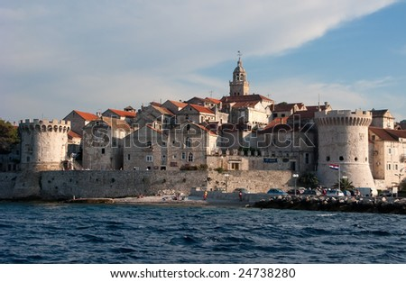 This is a picture of the Korcula's fortress from sea's point of view. - stock photo