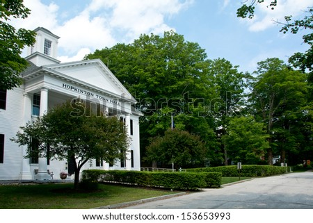 This is a side view of the main municipal building in the town of Hopkinton, New Hampshire, west of Concord. - stock photo
