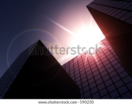 This is a simple city cityscape. - stock photo