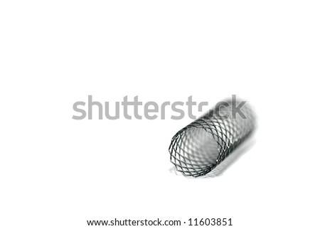 This is a stent. A stent is a small mesh tube that's used to treat narrowed or weakened arteries in the body. - stock photo