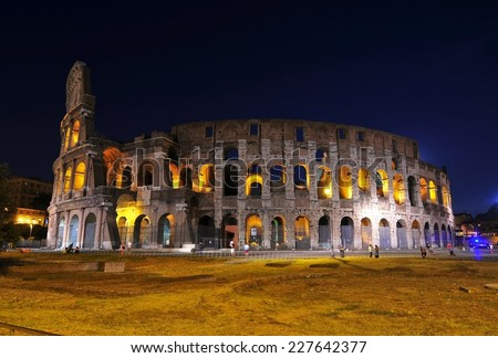This is a view of Coloseo in Rome, Italy. September 8, 2014 - stock photo