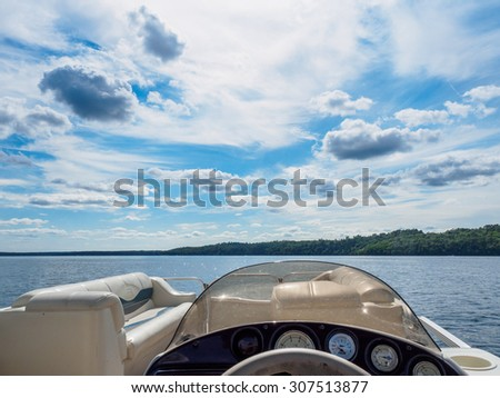 This is a view of East Gull Lake from a pontoon boat. This is in Minnesota. - stock photo