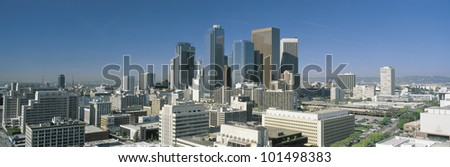 This is a view of the Los Angeles skyline in morning light. - stock photo