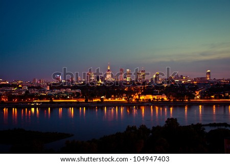 This is a view of Warsaw, the capital city of Poland. - stock photo