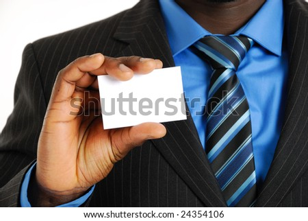 This is an image of a business man presenting a business card - stock photo