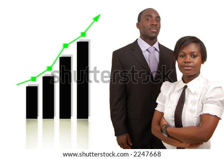 This is an image of a businessman and businesswoman portrayed as being successful, by the rising graph behind. - stock photo