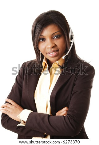 This is an image of a female call operator. This image can be used for telecommunication and service themes. - stock photo