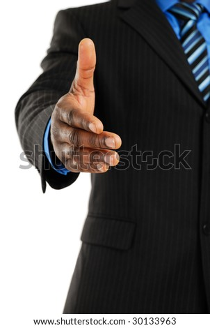 This is an image of business man offering a handshake. Success concept. - stock photo