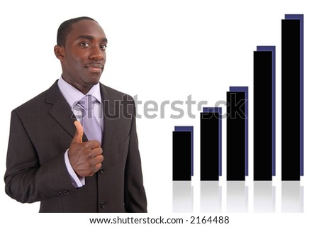 This is an image of businessman with his thumbs up to indicate good rise in profits/graph. - stock photo