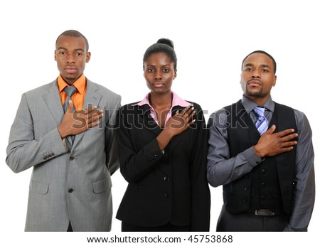 This is an image of team with hand across their chests. - stock photo