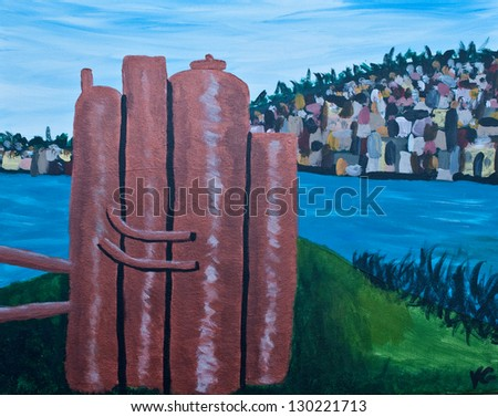 This is an original acrylic painting of the gas works park building and park off Lake Union, in Seattle, Washington.  Queen Ann Hill is in the background.  Historic building and tourist attraction. - stock photo
