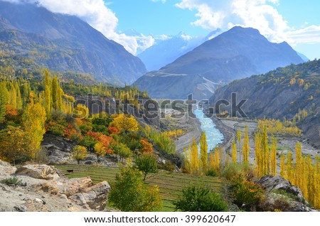 This is beautiful autumn in the late morning in Hunza valley , Karakoram highway , Pakistan   - stock photo