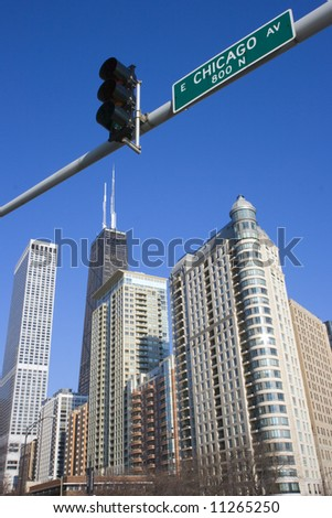 This is Chicago - seen from Lake Shore Drive - stock photo