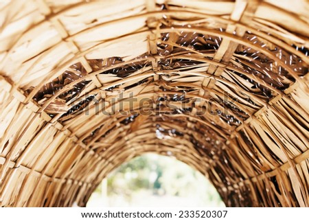 This is Leaf roof from Thai local Architecture.  - stock photo