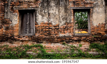 This is old wall brick since Ayutthaya is capital, Thailand. - stock photo