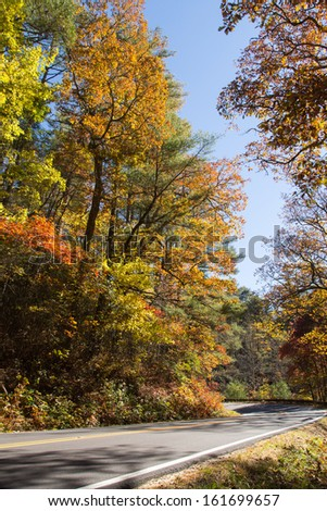 This is one of countless beautiful sections of the Mountain Waters National Scenic Highway in North Carolina. - stock photo
