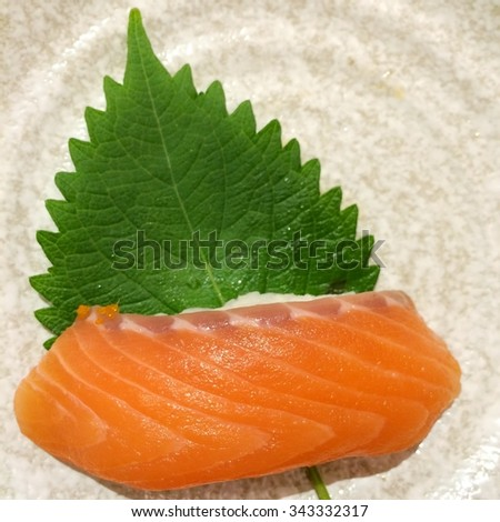 This is salmon slices of sushi set.  - stock photo