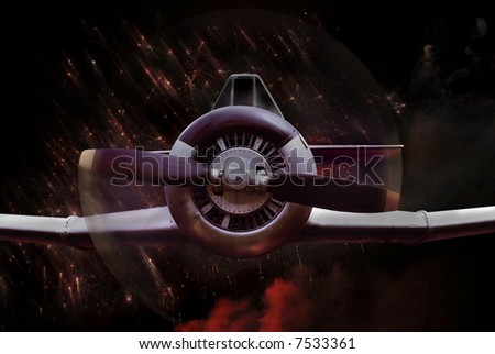 This is Soviet Fighter plane from 5o-ties. Image created as montage of few different shots (done by me). - stock photo