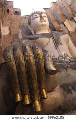 "This is Sri Chum Temple in Sukhothai, Thailand.This Buddha statue Thai called ""Pra Artjana"" - stock photo"