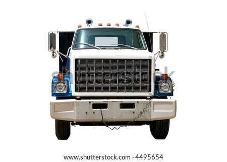 This is the front of a mid 1980's flat bed truck. - stock photo