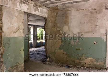 This is the interior of an abandoned house - stock photo