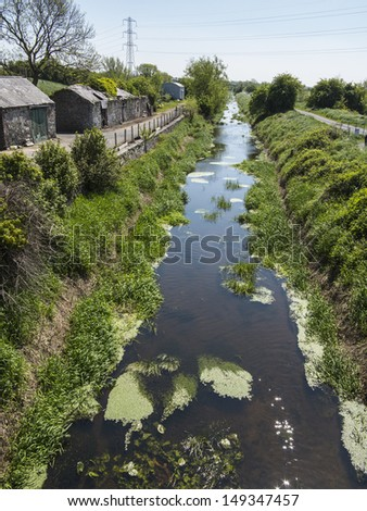 this is the newry canal it was the uks first ever summit level canal - stock photo