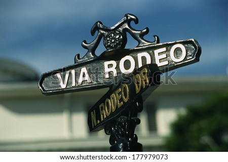 This is the shopping district on Rodeo Drive and Via Rodeo Drive in Beverly Hills, showing a street sign that says Via Rodeo - stock photo