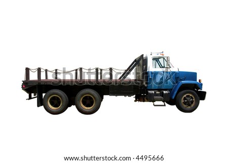 This is the side view of a flat bed straight truck with a city style day cab. isolated on white. - stock photo