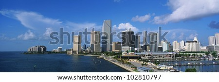 This is the skyline view of Miami along the bay. - stock photo